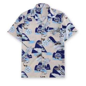 Hawaiian Shirt Cream Pigeon Rayon 100% Crafts from Thailand